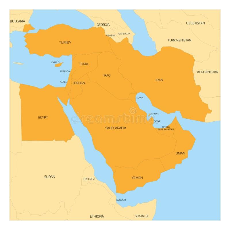 Mapa Środkowy Wschód region ilustracji