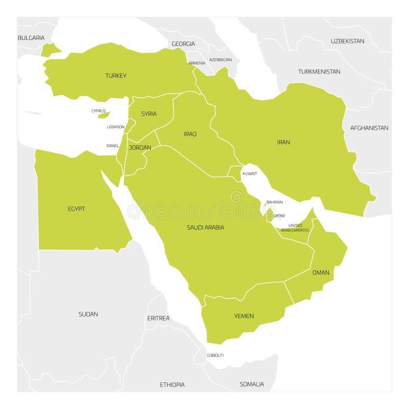 Mapa Środkowy Wschód region royalty ilustracja