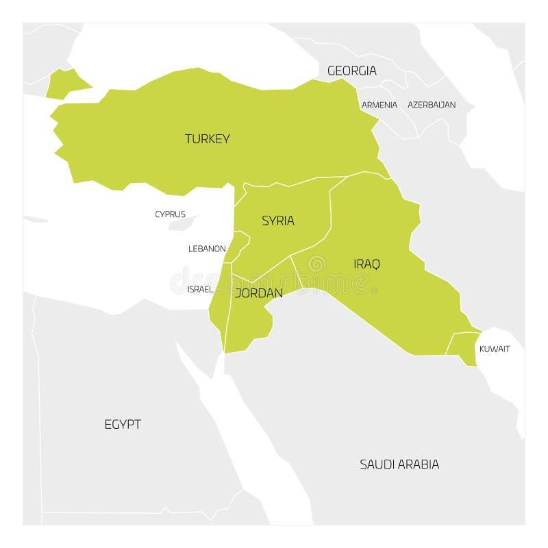 Mapa Środkowy Wschód region ilustracja wektor