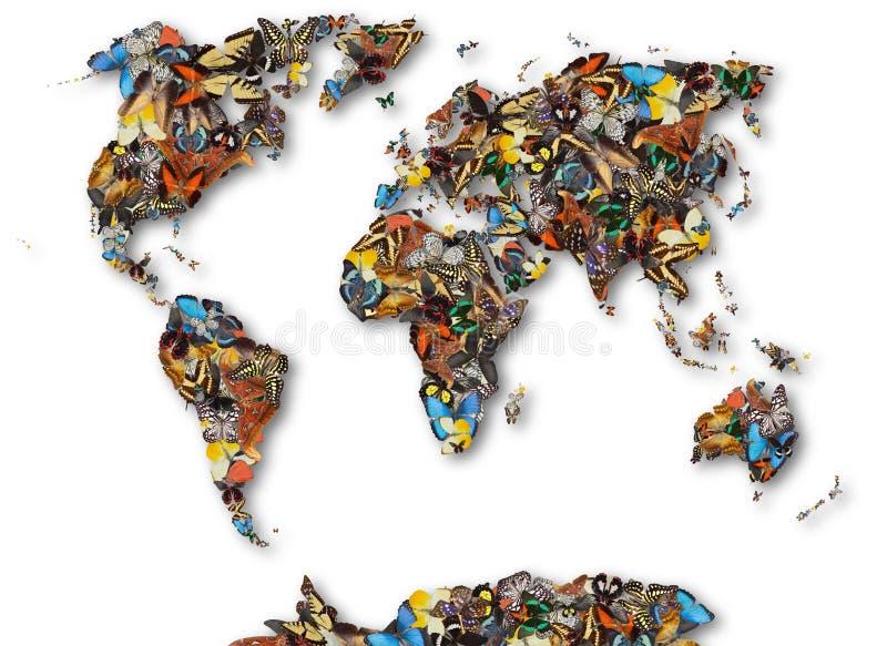 Mapa świat motyle ilustracji