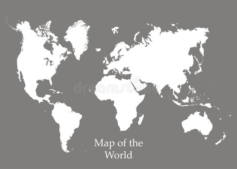 Mapa świat na popielatym tle ilustracja wektor