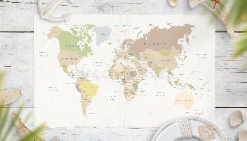 Mapa świat otacza symbolami od morza w cieniu drzewka palmowe obraz stock