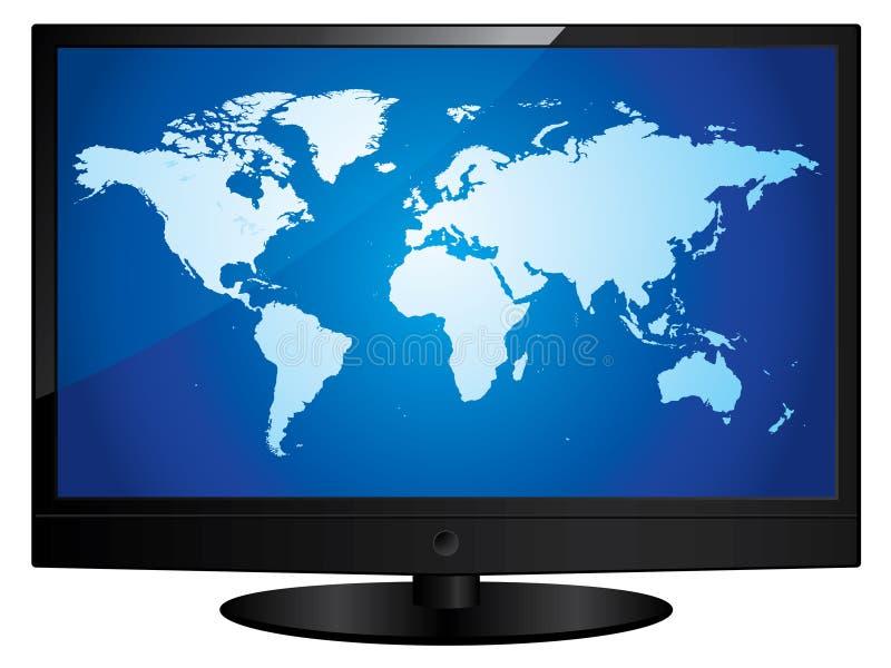 mapa świat parawanowy telewizyjny szeroki royalty ilustracja