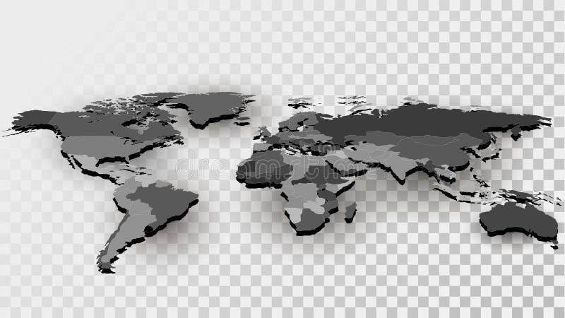 Mapa świat z granicami kraju ilustracja wektor