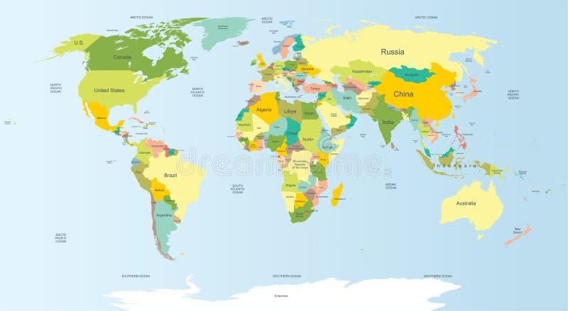 mapa świata politycznego ilustracji