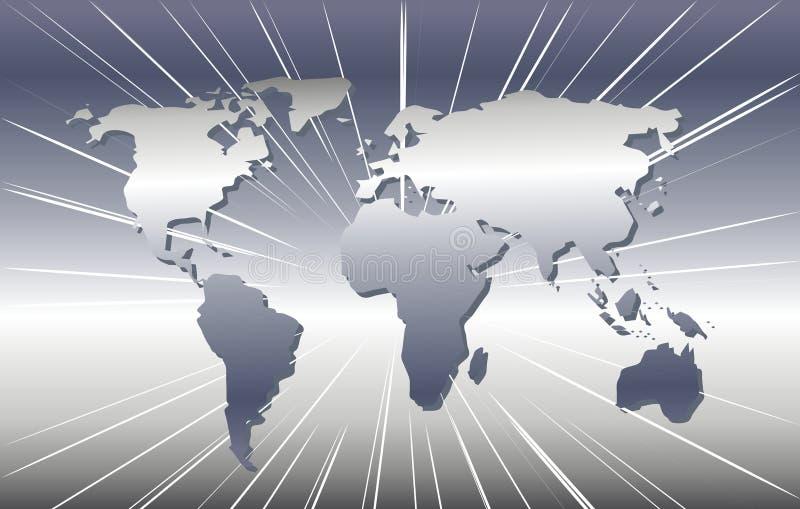 mapa świata srebra royalty ilustracja