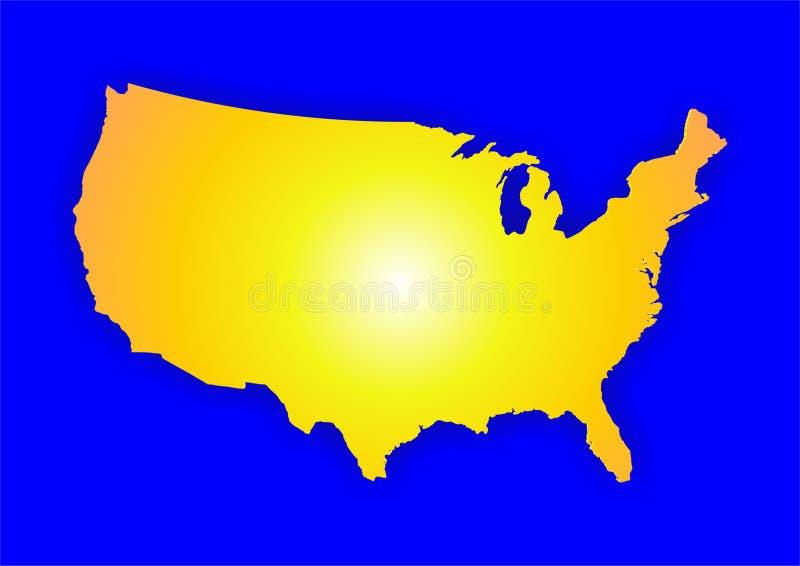 mapa żółta usa ilustracji