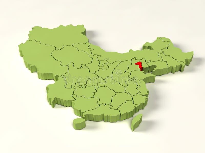 mapa 3d da porcelana ilustração stock