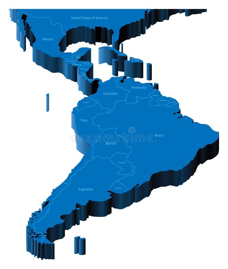 mapa 3d de América Latin ilustração stock
