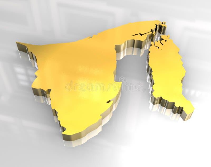 mapa 3d dourado de brunei ilustração do vetor