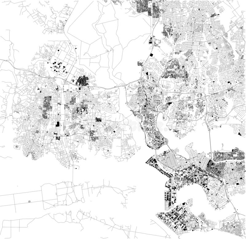 Mapa Abidjan, satelitarny widok, miasto, Cote d ` Ivoire Ulicy i domy africa ilustracji