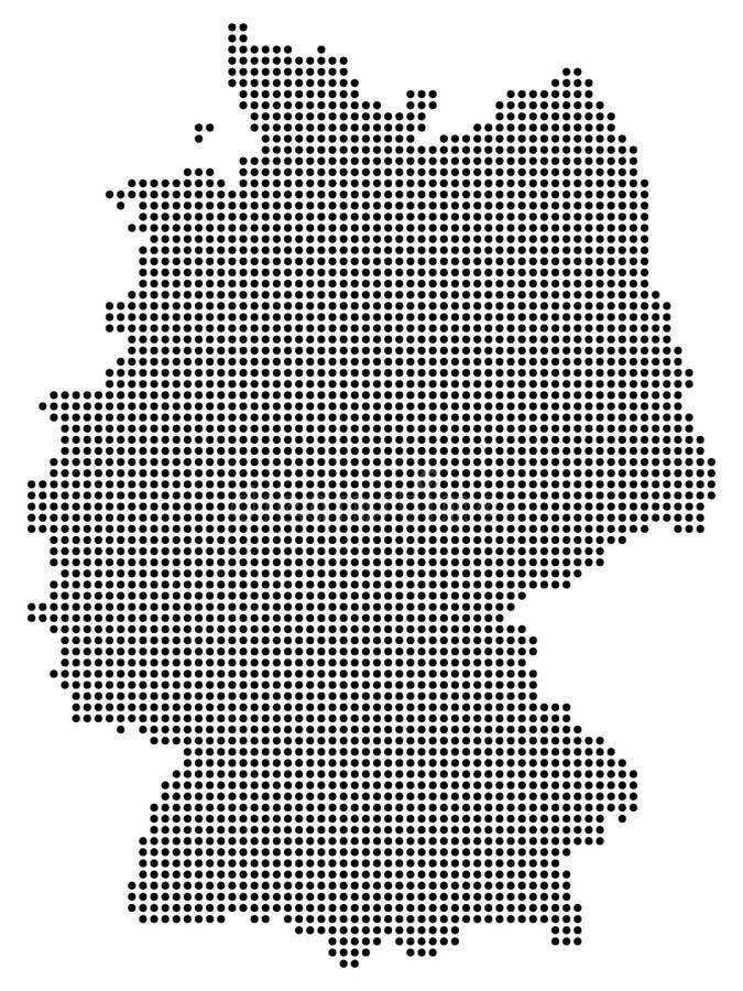 Mapa abstracto de Alemania que consiste en los puntos/los círculos negros aislados en el fondo blanco ilustración del vector