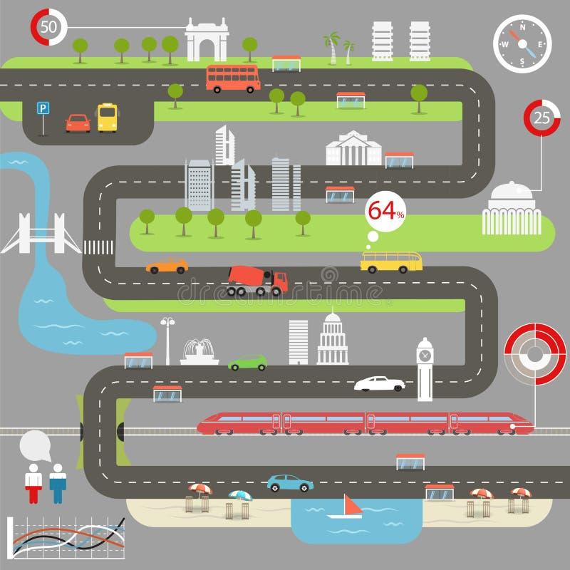 Mapa abstracto de la ciudad stock de ilustración