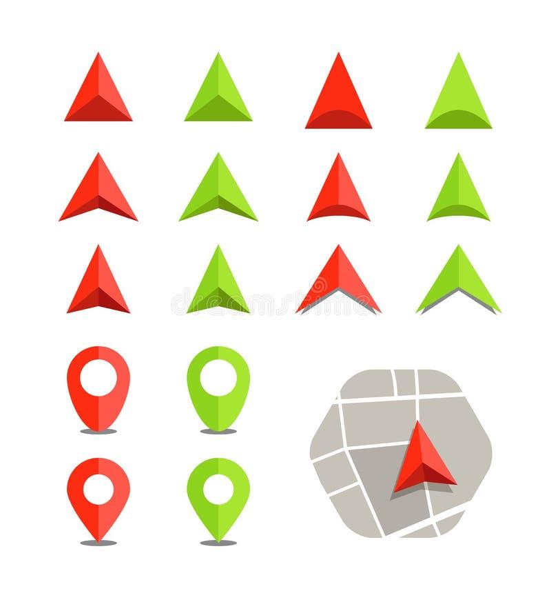Mapa abstracto de la ciudad con la colección de los símbolos ilustración del vector