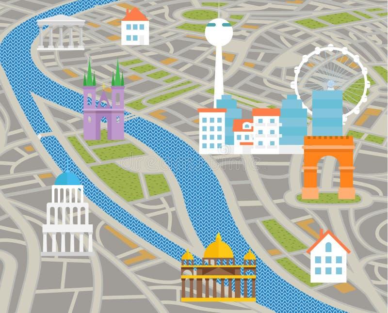 Mapa abstracto de la ciudad con las siluetas de casas ilustración del vector