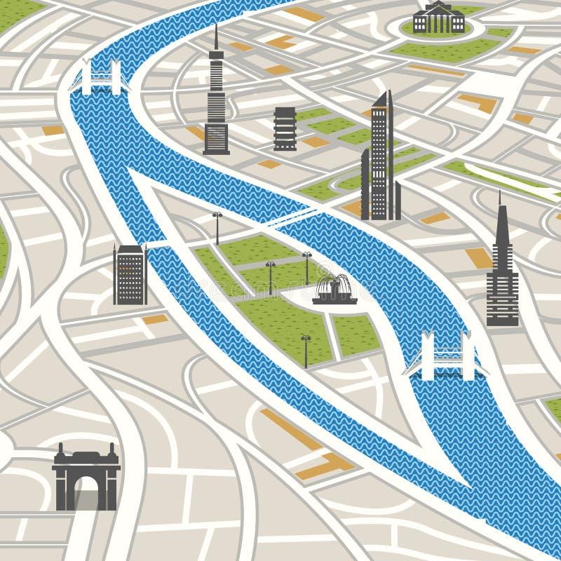 Mapa abstracto de la ciudad con los edificios libre illustration