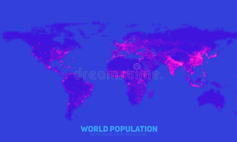 Mapa abstracto de la densidad demográfica de mundo del vector Continentes construidos de números binarios Red de información glob libre illustration