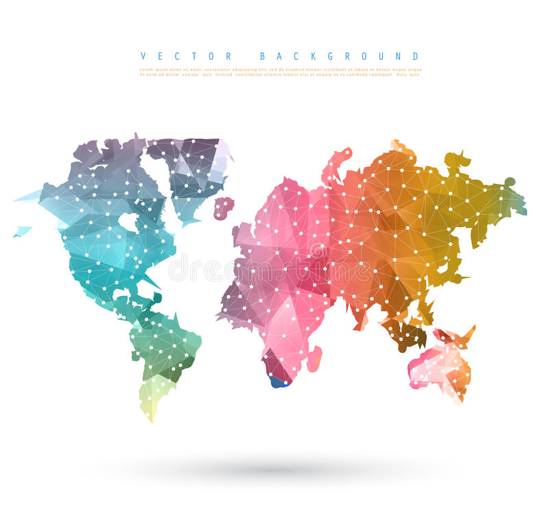 Mapa abstracto de la tierra de la telecomunicación del vector libre illustration