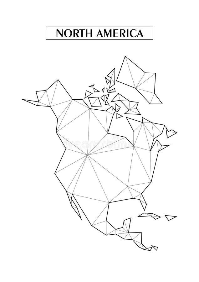 Mapa abstracto poligonal de Norteamérica con las formas triangulares conectadas formadas de líneas Buen cartel para la pared en s stock de ilustración
