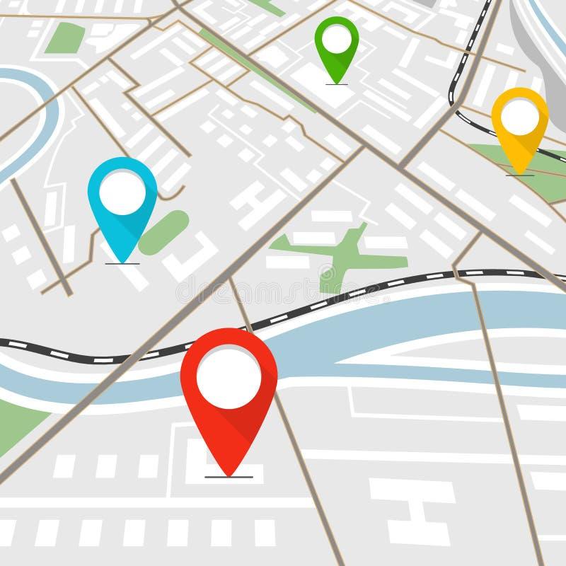 Mapa abstrato da cidade com pinos da cor ilustração stock