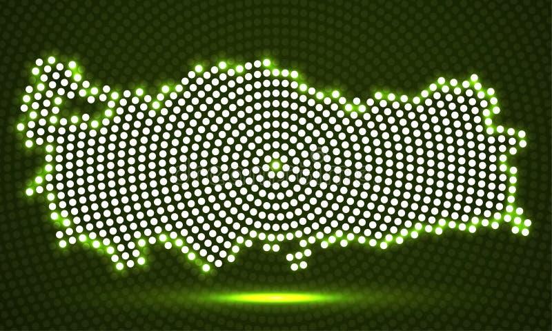 Mapa abstrato de Turquia de pontos radiais de incandescência ilustração do vetor