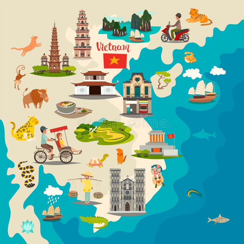 Mapa abstrato de Vietname com bandeira, ilustração tirada mão do vetor ilustração do vetor