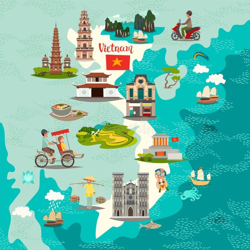 Mapa abstrato de Vietname, ilustração tirada mão Ilustração do curso ilustração do vetor
