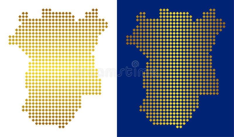 Mapa abstrato dourado de Chechnya ilustração do vetor