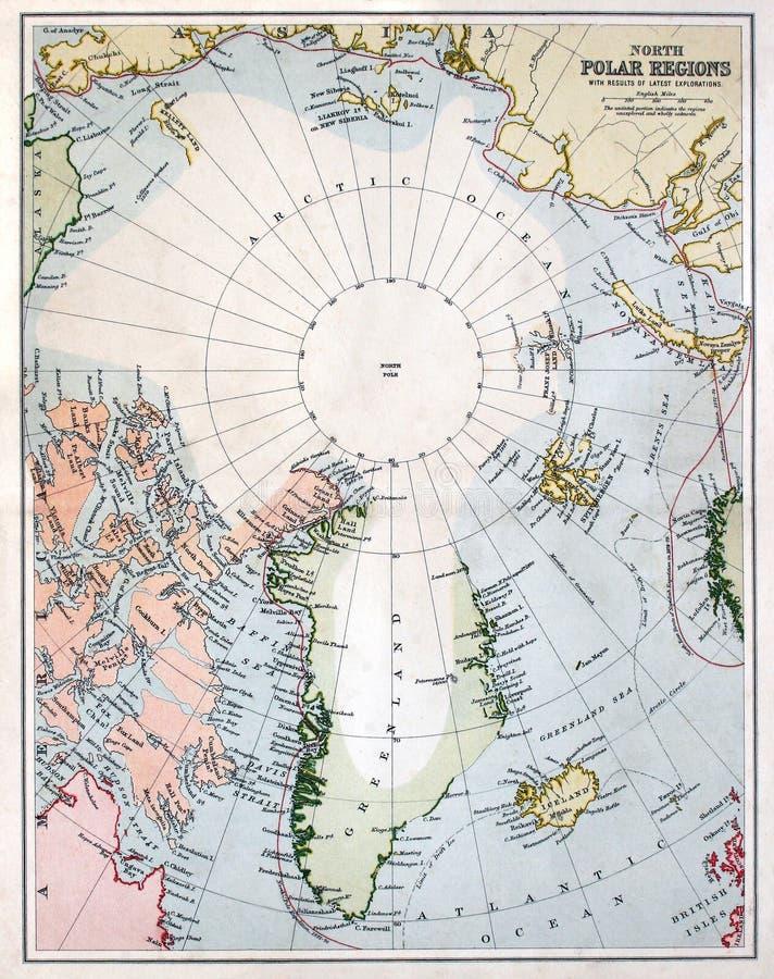 Mapa adiantado da região do Pólo Norte foto de stock