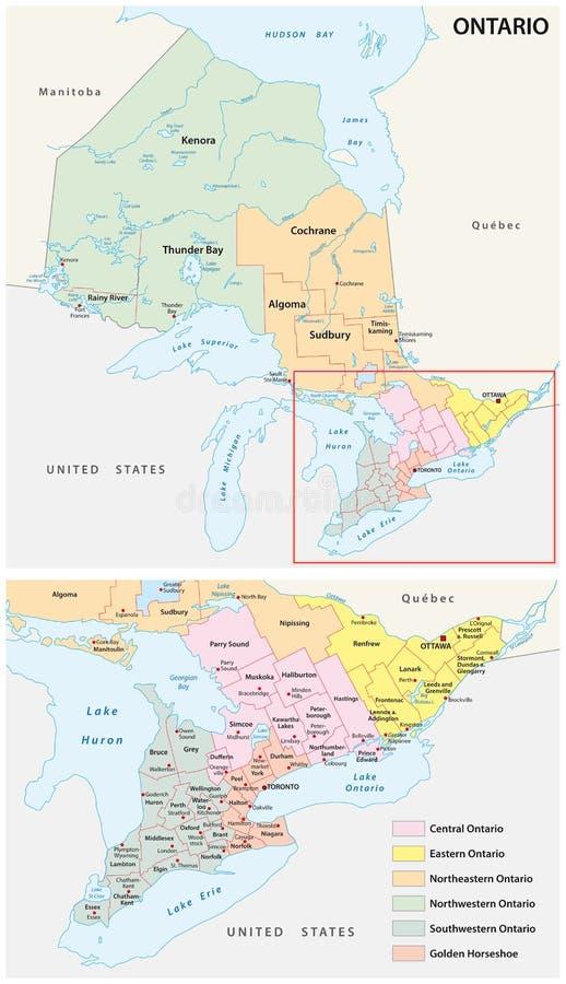 Mapa administrativo das regiões na província de Canadá s de Ontário ilustração royalty free