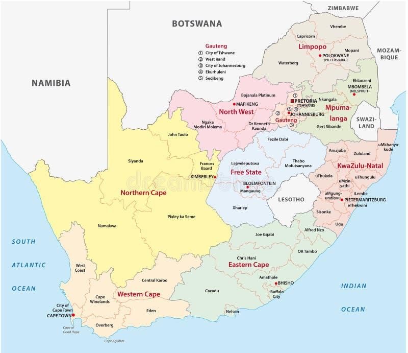 Mapa administrativo de África do Sul ilustração royalty free
