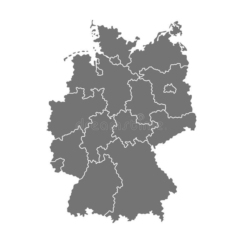 Mapa administrativo de Alemania Ilustración ilustración del vector