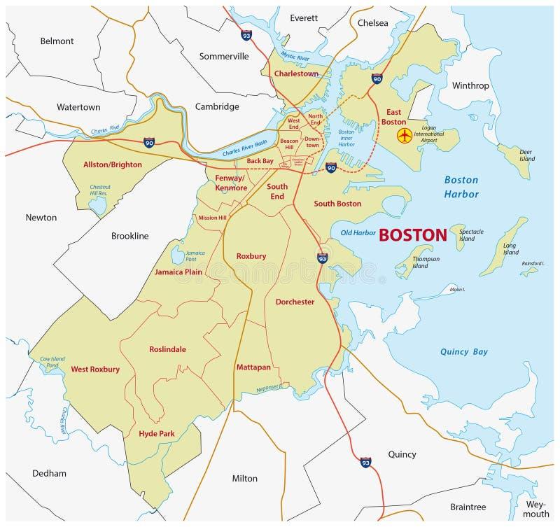 Mapa administrativo de Boston ilustración del vector