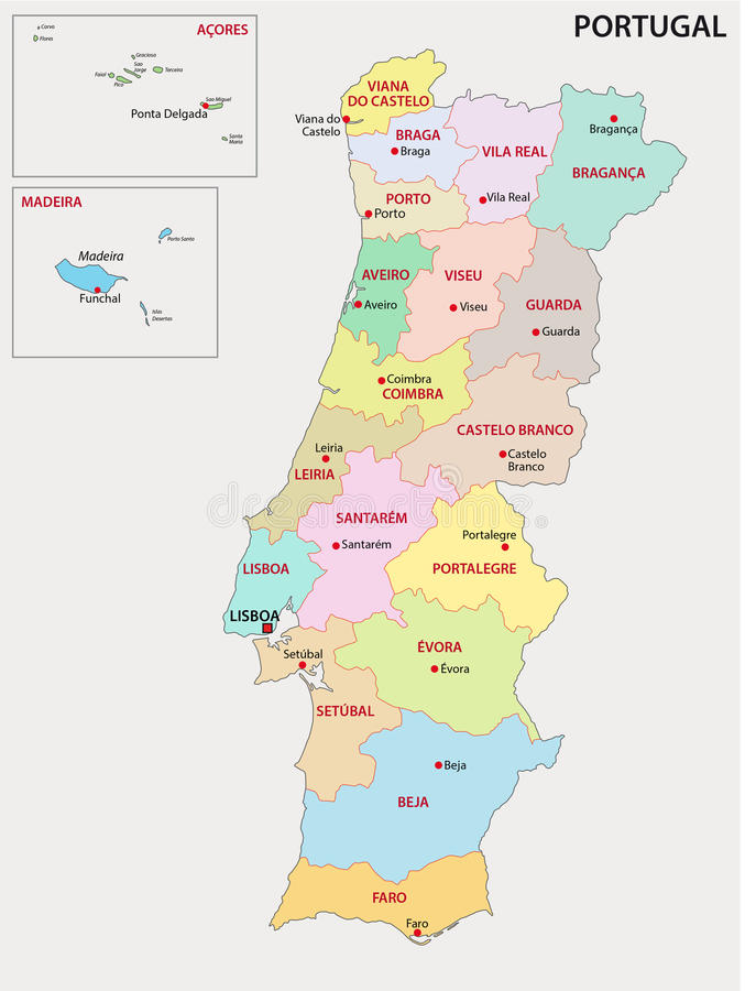 mapa administrativo de portugal Mapa Administrativo De Portugal Ilustração Stock   Ilustração de  mapa administrativo de portugal