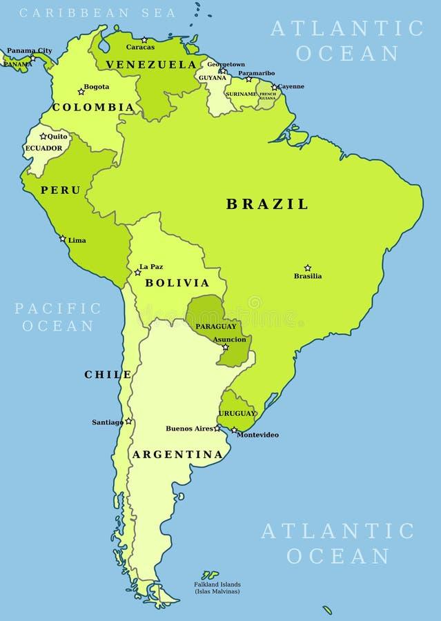 Mapa administrativo de Suramérica libre illustration