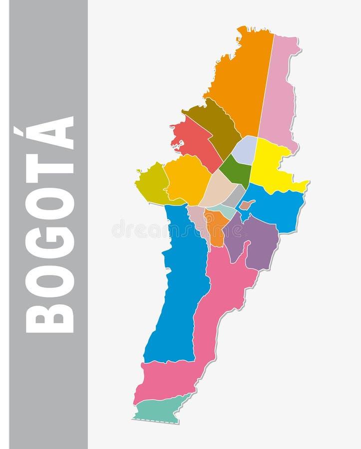 Mapa administrativo e político de Bogotá colorida do vetor ilustração do vetor