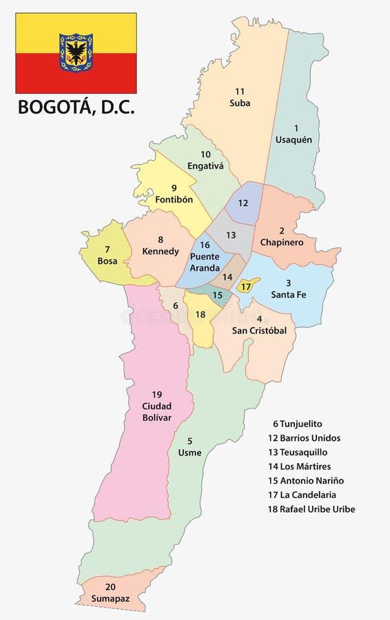 Mapa administrativo e político de Bogotá com bandeira ilustração do vetor