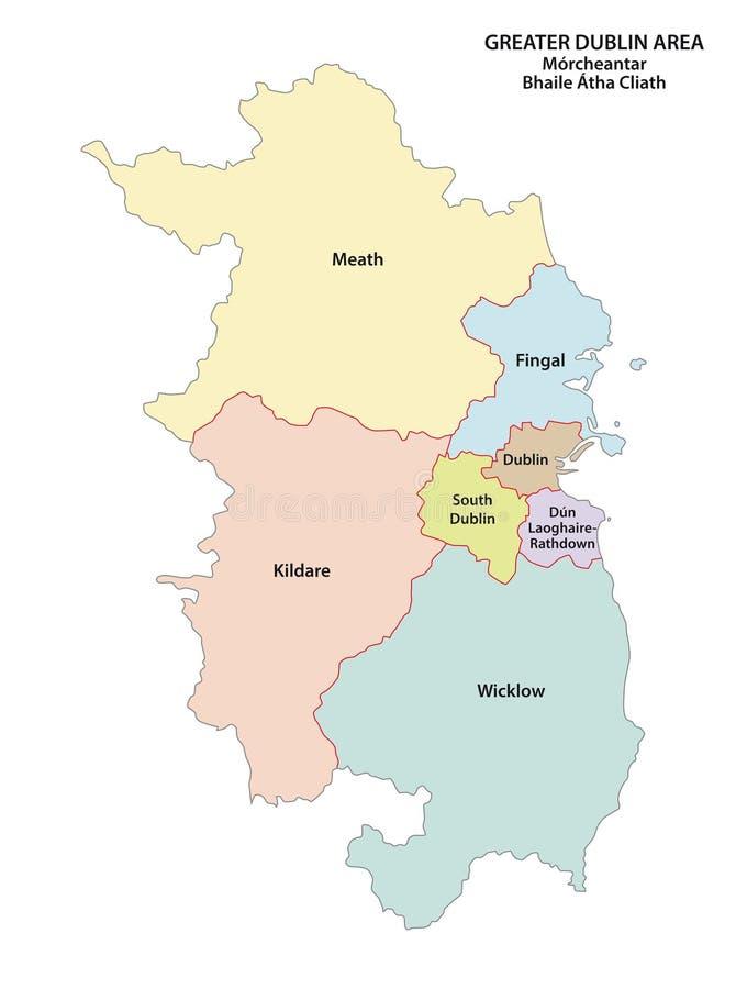 Mapa administrativo e político de maior Dublin Area do vetor ilustração do vetor