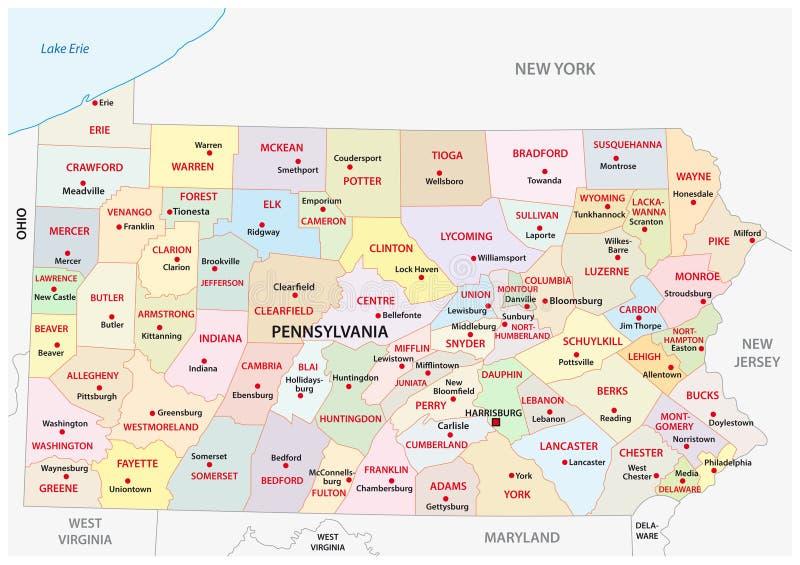 Mapa administrativo e político de Pensilvânia do vetor ilustração stock