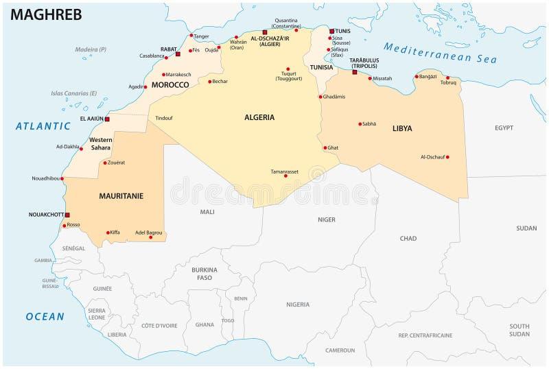 Mapa administrativo e político do vetor dos estados de Maghreb ilustração royalty free