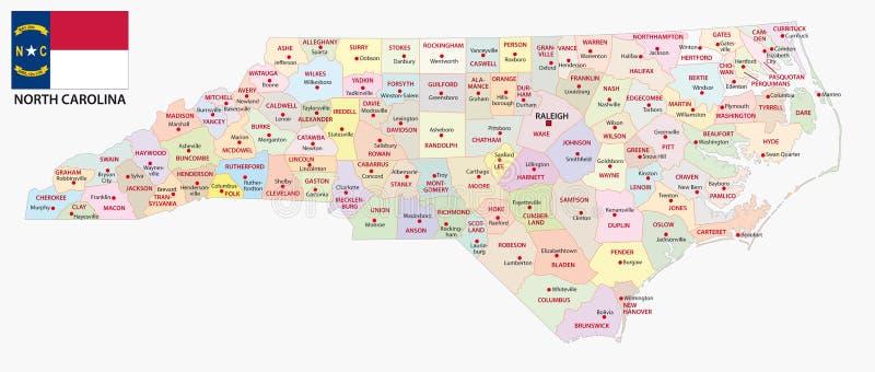 Mapa administrativo y político de Carolina del Norte del vector con la bandera stock de ilustración