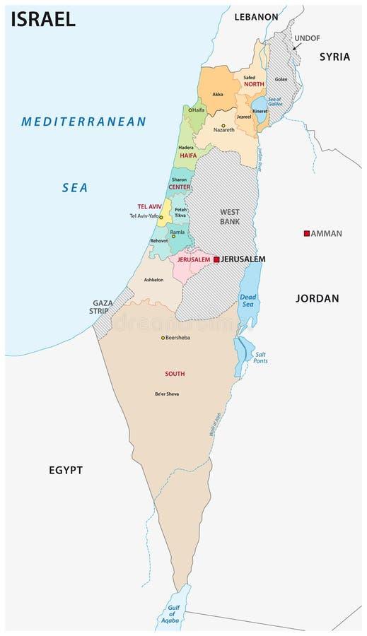 Mapa administrativo y político de Israel del vector libre illustration