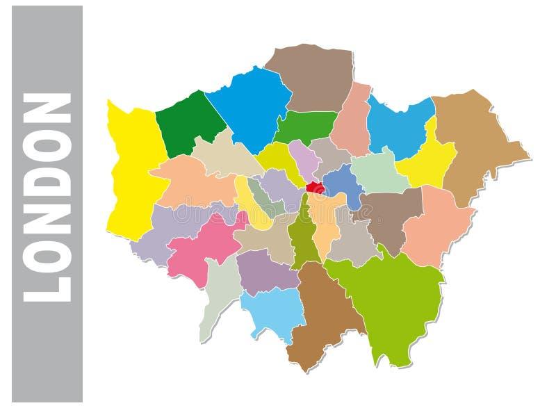 Mapa administrativo y político de Londres colorido stock de ilustración