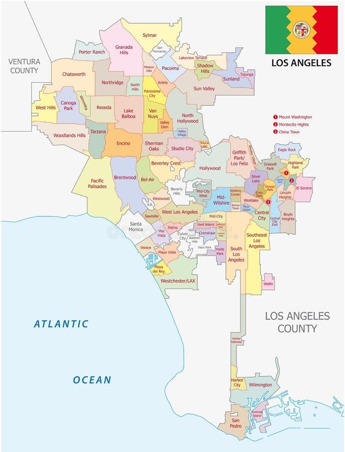 Mapa administrativo y político de Los Ángeles del vector con la bandera ilustración del vector