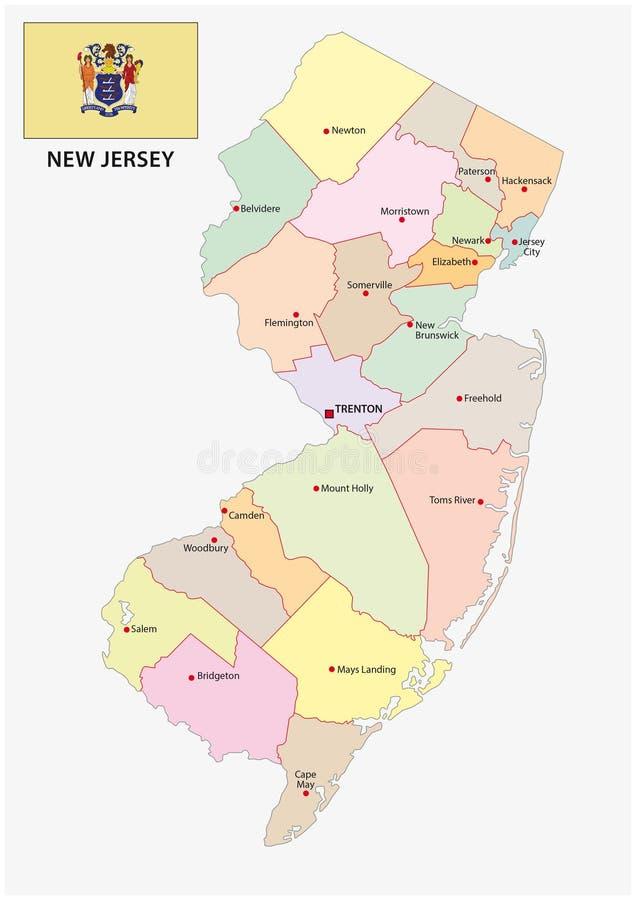 Mapa Administrativo Y Político De New Jersey Con La Bandera - Mapa de new jersey