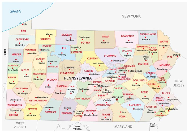 Mapa administrativo y político de Pennsylvania del vector stock de ilustración