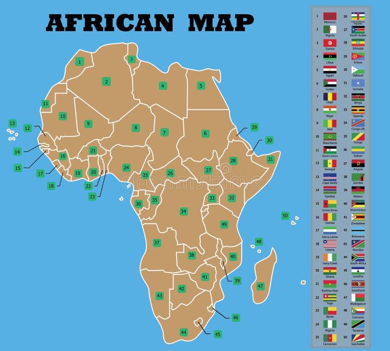Mapa africano e bandeiras africanas dos condados ilustração stock