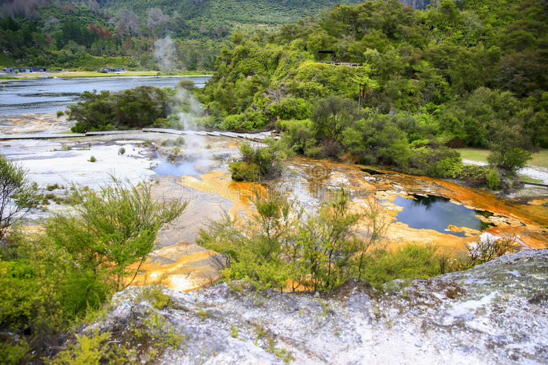 Mapa Afryka geotermiczny basen, Orakei Korako, Nowa Zelandia obraz stock