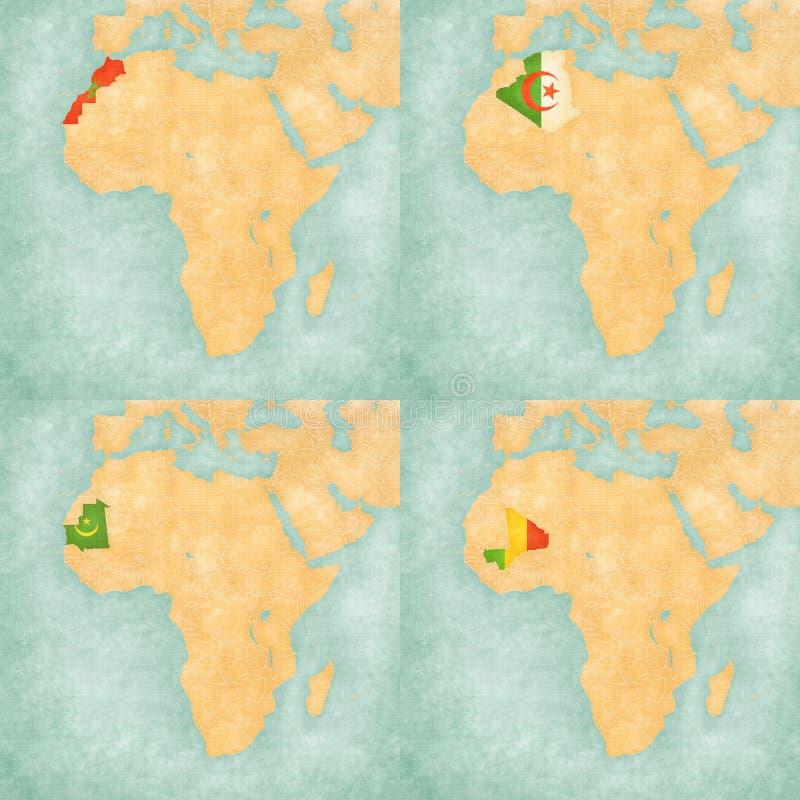 Mapa Afryka, Maroko, Algieria, Mauretania i Mali -,