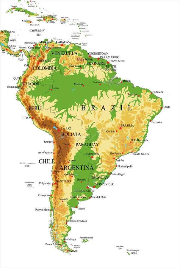 Mapa al sur América-físico ilustración del vector